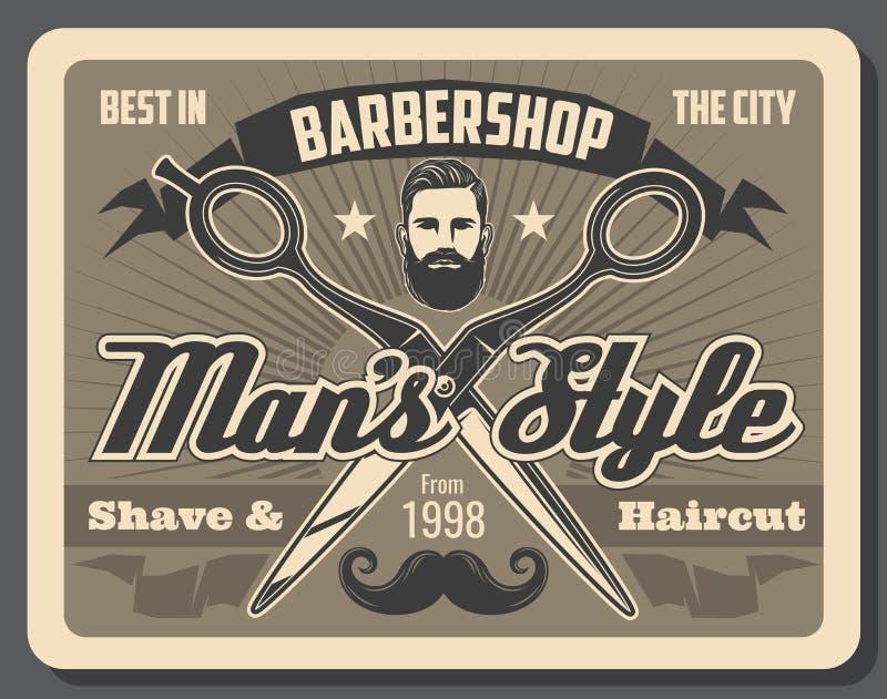 Zakładów fryzjerskich nożyce, mężczyzna z brodą i wąsy, ilustracji