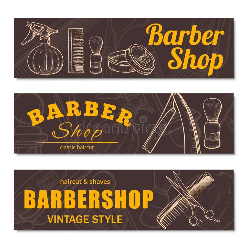 Zakładu fryzjerskiego biznesowy sztandar ustawiający odizolowywającym od tła royalty ilustracja