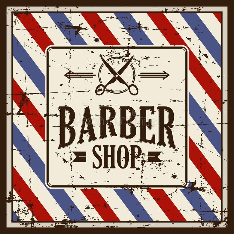 Zakładu fryzjerskiego fryzjera męskiego sklepu znaka Signage wektor ilustracja wektor