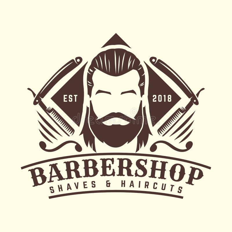 Zakładu fryzjerskiego loga szablon, rocznik lub retro styl z brodatymi mężczyzna i fryzjera męskiego narzędziami, royalty ilustracja