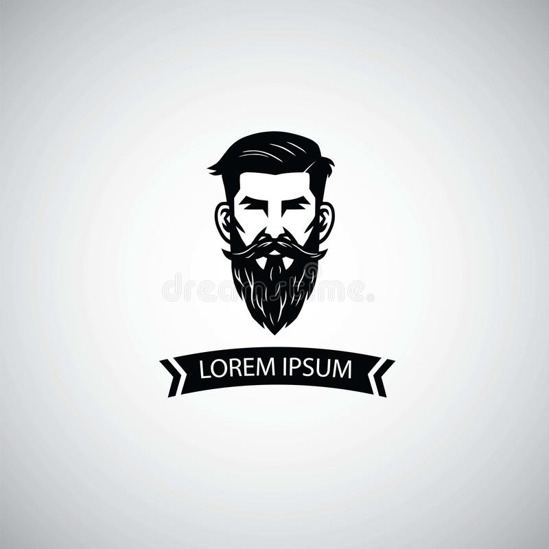 Zakładu fryzjerskiego loga szablon z modnisia mężczyzna również zwrócić corel ilustracji wektora ilustracji