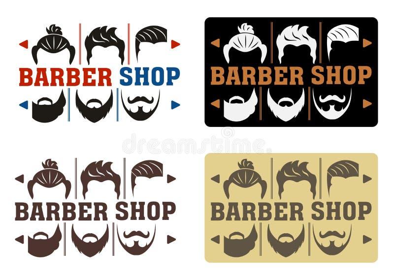 Zakładu fryzjerskiego logo z cztery opcjami w nowożytnym stylu Pomysł interfejs z wyborem fryzury i brody Dla etykietki, odznaka, ilustracja wektor