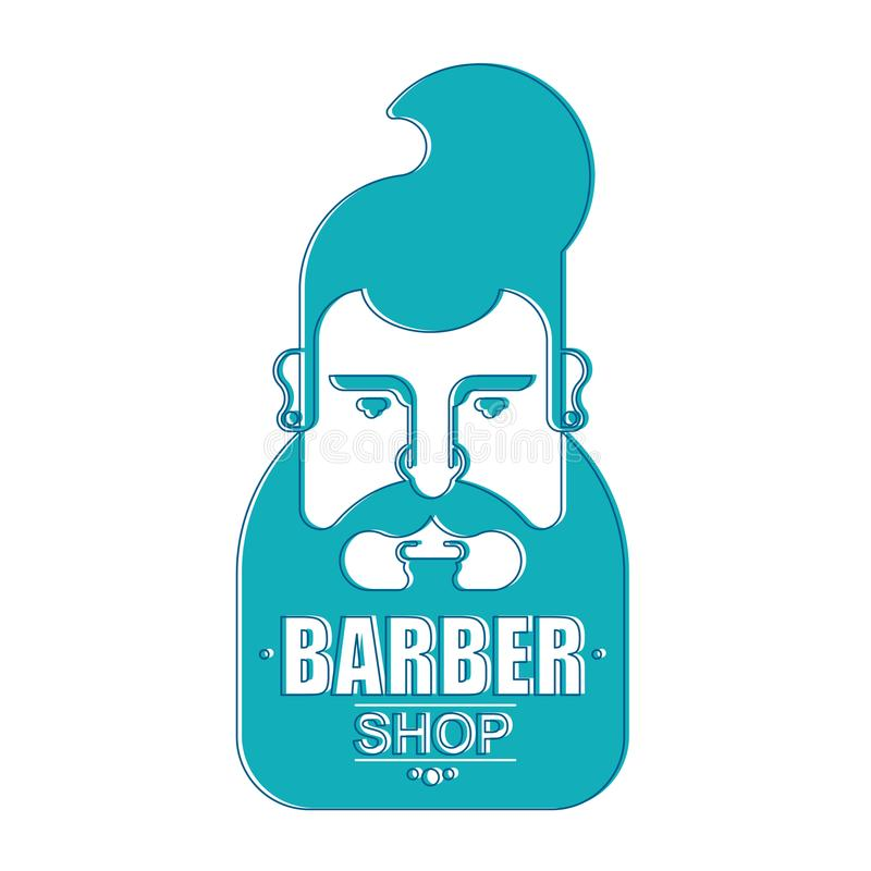 Zakładu fryzjerskiego modnisia szyldowa twarz z brodą Modny włosy i tu royalty ilustracja