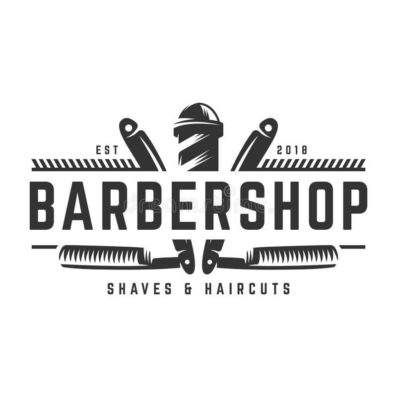 Zakładu fryzjerskiego rocznika loga szablon na odosobnionym białym tle ilustracji