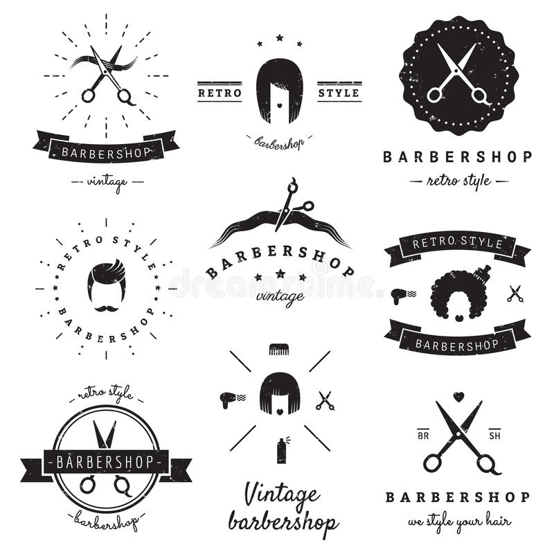 Zakładu fryzjerskiego (włosiany salon) loga rocznika wektoru set Modniś i retro styl ilustracja wektor
