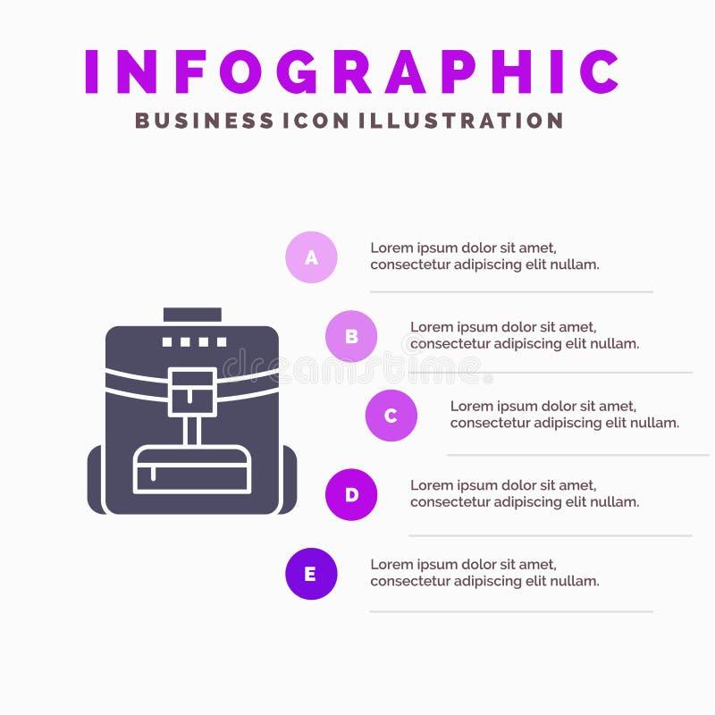 Zak, Achterzak, School, de Presentatiemalplaatje van de Dienstinfographics 5 stappenpresentatie vector illustratie