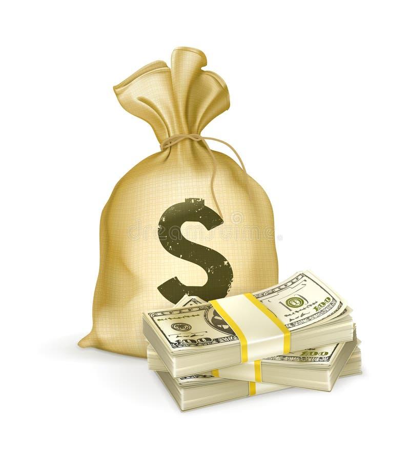 Zak en geld stock illustratie