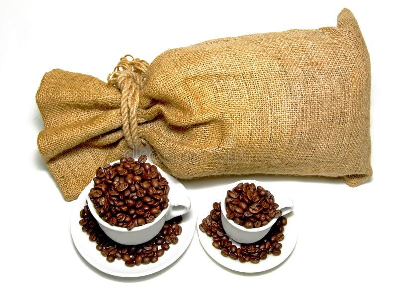 Zak en koffie stock foto