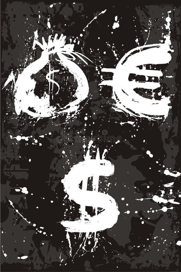 Zak, euro, dollar, geld vector illustratie