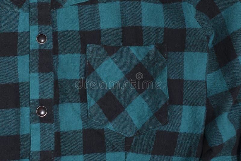Zak geruite zwarte en groene geweven stof Close-up royalty-vrije stock afbeelding
