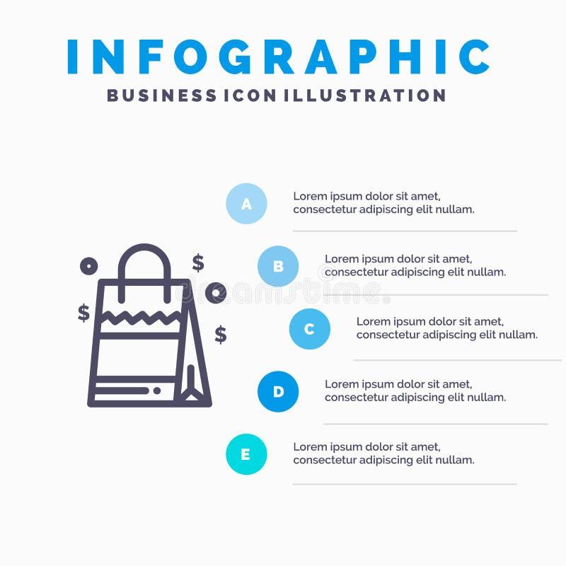 Zak, Handtas, de V.S., Amerikaans Lijnpictogram met infographicsachtergrond van de 5 stappenpresentatie stock illustratie