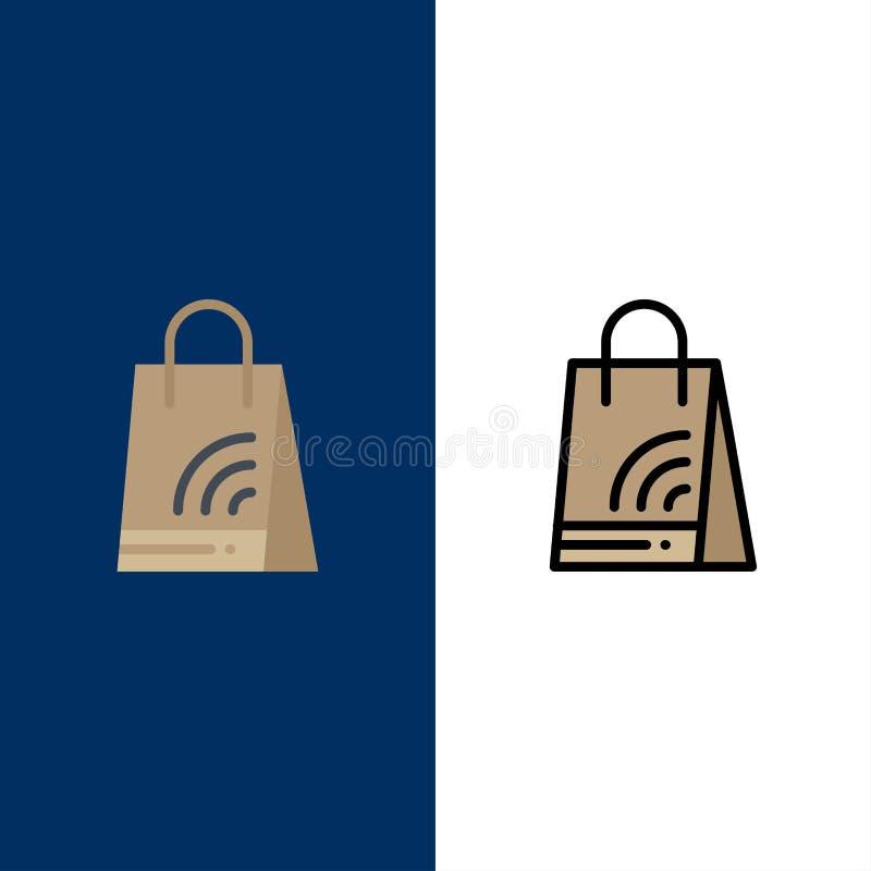 Zak, Handtas, Wifi, het Winkelen Pictogrammen Vlak en Lijn vulde Pictogram Vastgestelde Vector Blauwe Achtergrond royalty-vrije illustratie