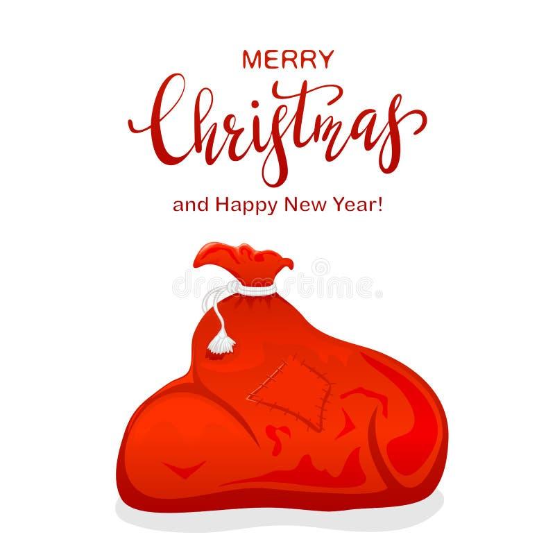 Zak Kerstman en Tekst Vrolijke Kerstmis stock illustratie