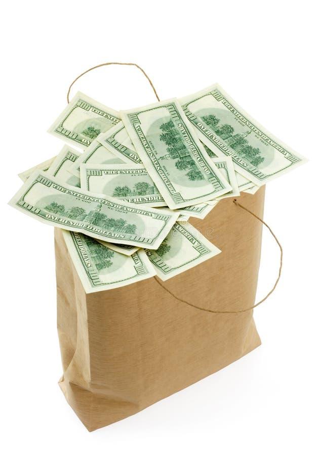 Zak met geld stock foto