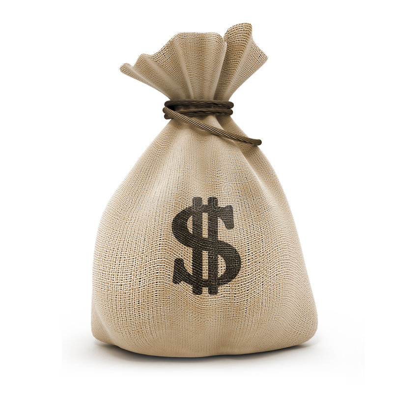 Zak met gelddollars royalty-vrije stock afbeeldingen