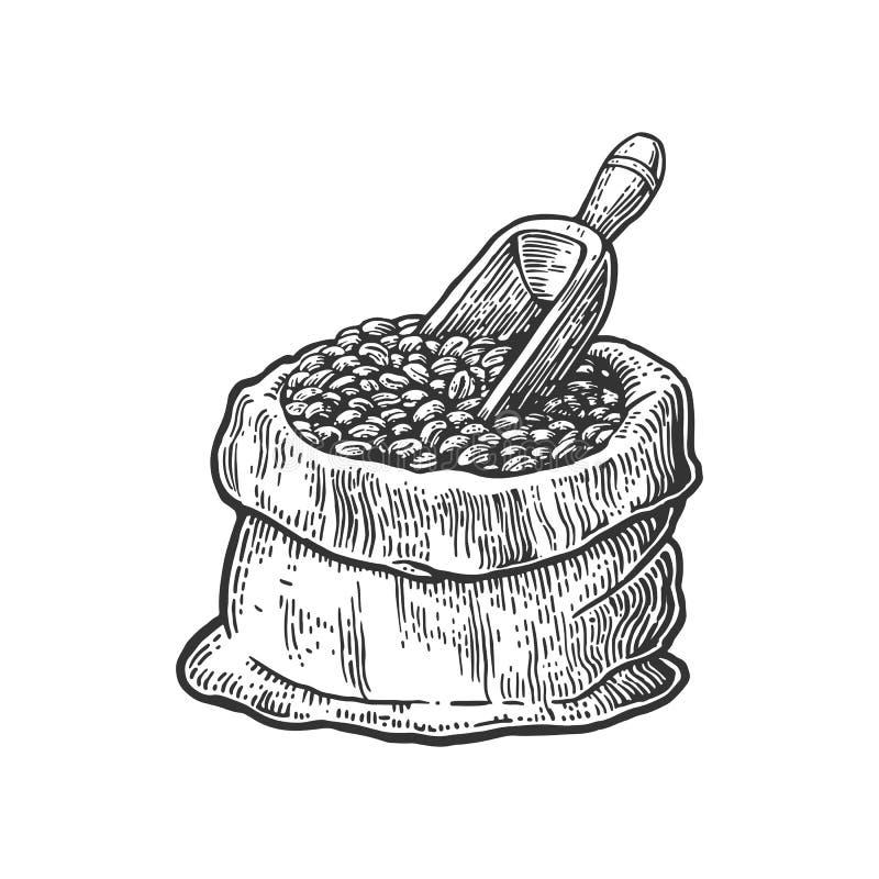 Zak met koffiebonen met houten lepel Hand getrokken schetsstijl Uitstekende zwarte vectorgravureillustratie voor etiket stock illustratie