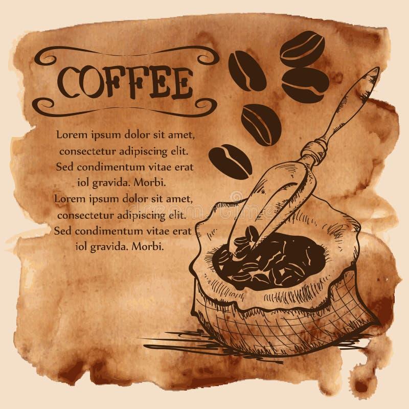Zak met koffiebonen op een waterverfachtergrond stock illustratie