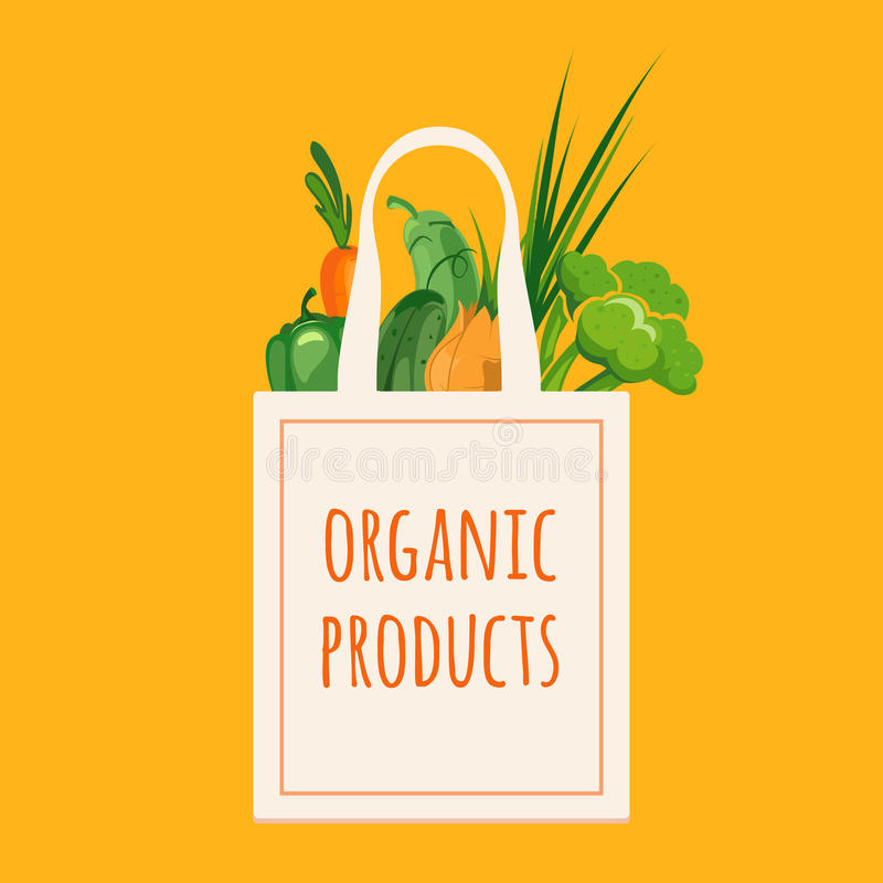 Zak met organische groenten royalty-vrije illustratie
