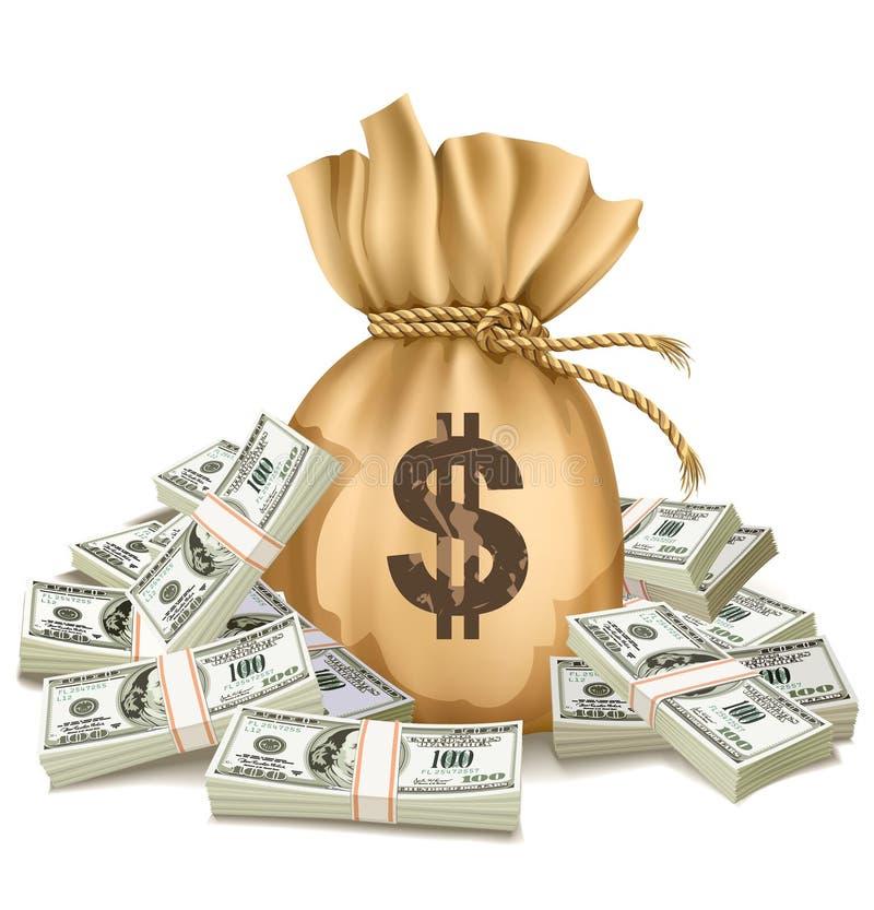 Zak met pakken van dollarsgeld royalty-vrije illustratie