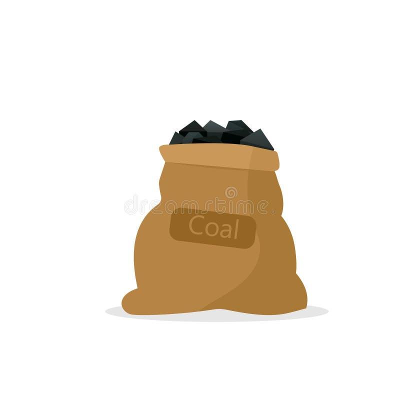 Zak met steenkool vector illustratie