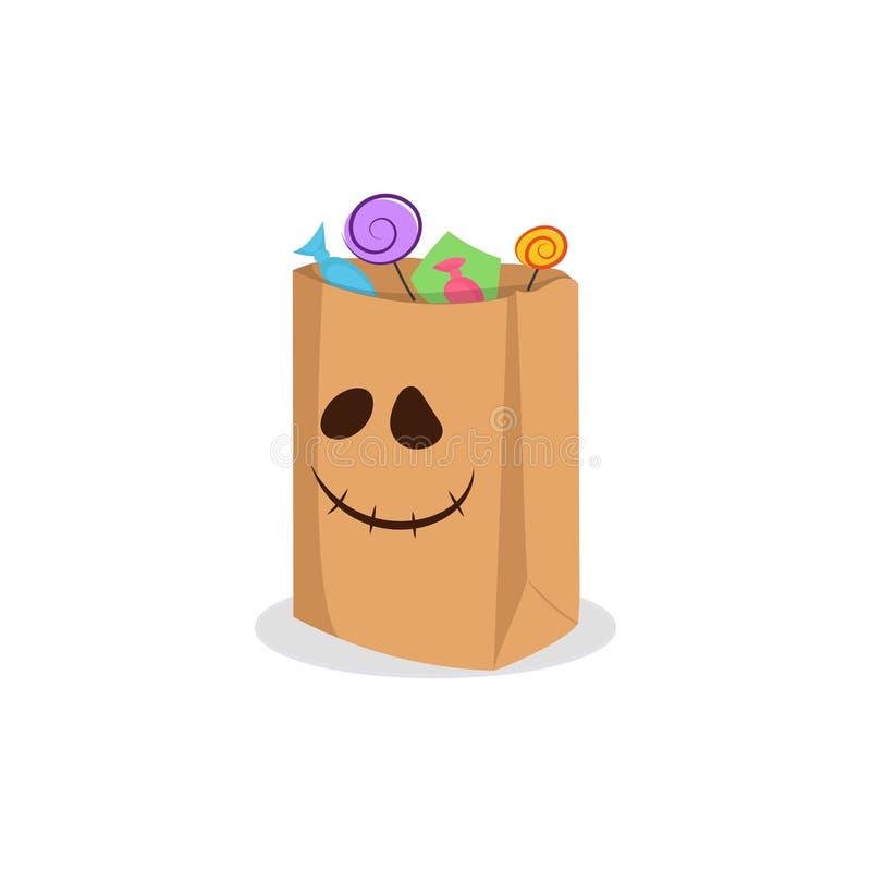 Zak met suikergoed voor Halloween stock illustratie