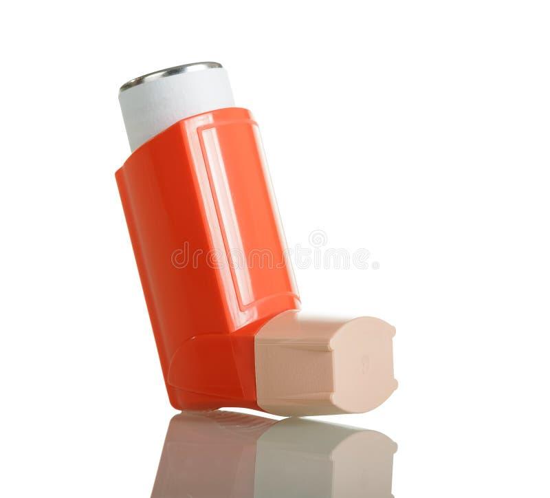 Zak oranje helder inhaleertoestel voor asthmatics royalty-vrije stock fotografie