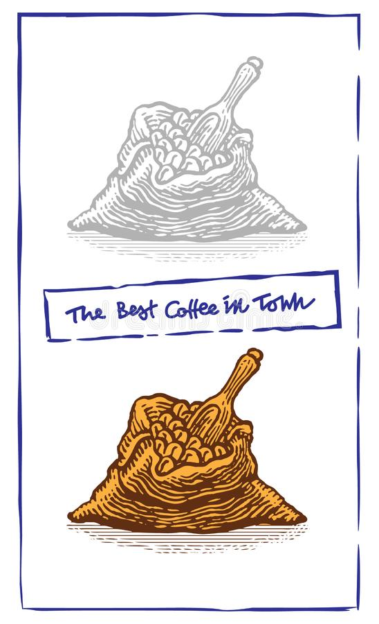 Zak twee met koffiebonen met houten lepel Hand getrokken schetsstijl Uitstekende vectorgravureillustratie voor etiket royalty-vrije illustratie