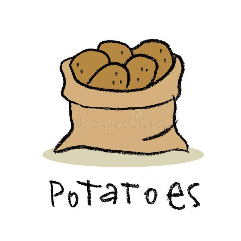 Zak van aardappels royalty-vrije illustratie