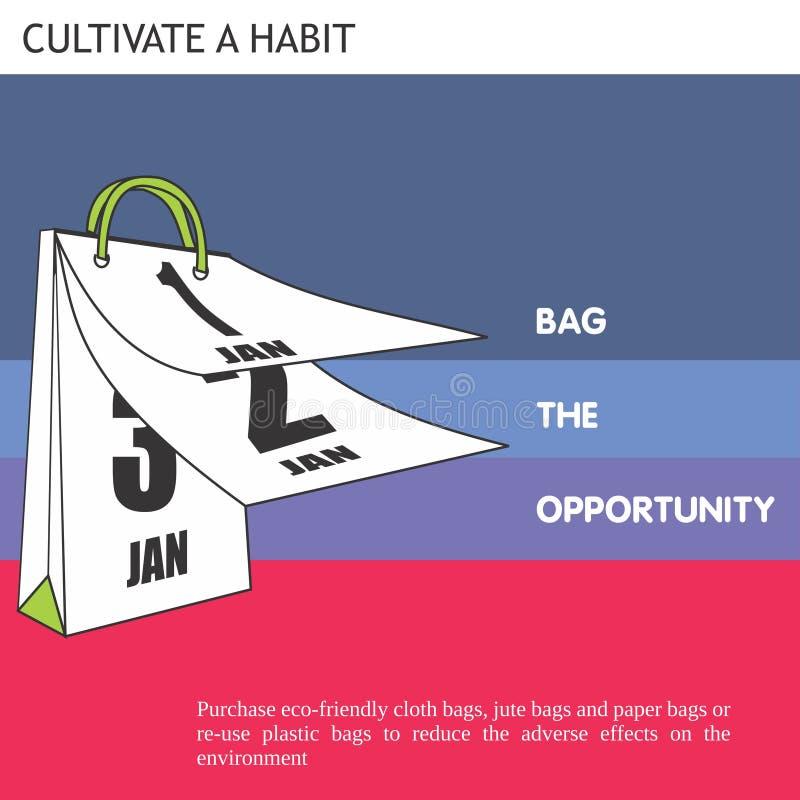 Zak van Eco de Vriendschappelijke Ideeën de kans vector illustratie