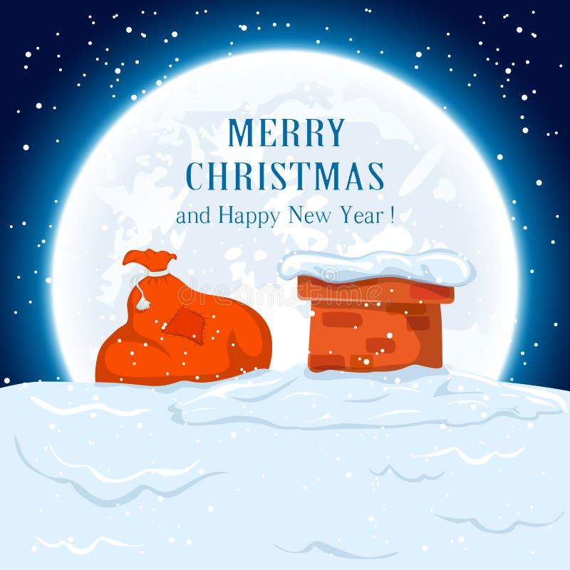 Zak van Kerstman op het dak royalty-vrije illustratie