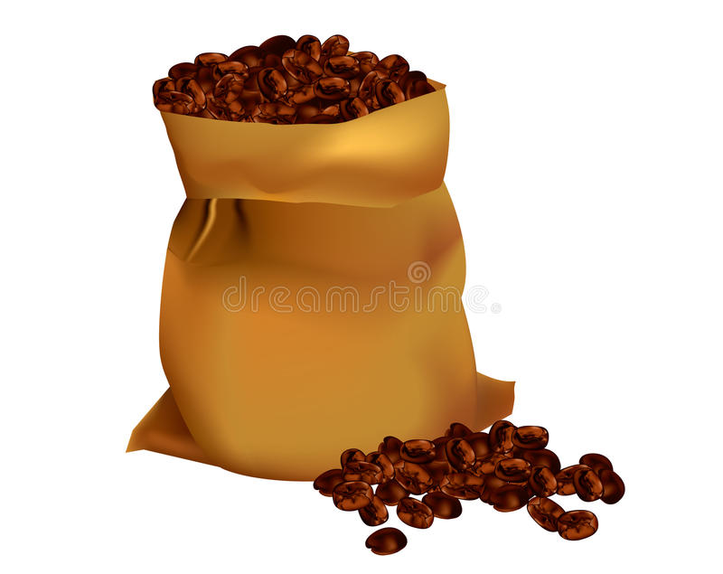 Zak van koffiebonen royalty-vrije illustratie