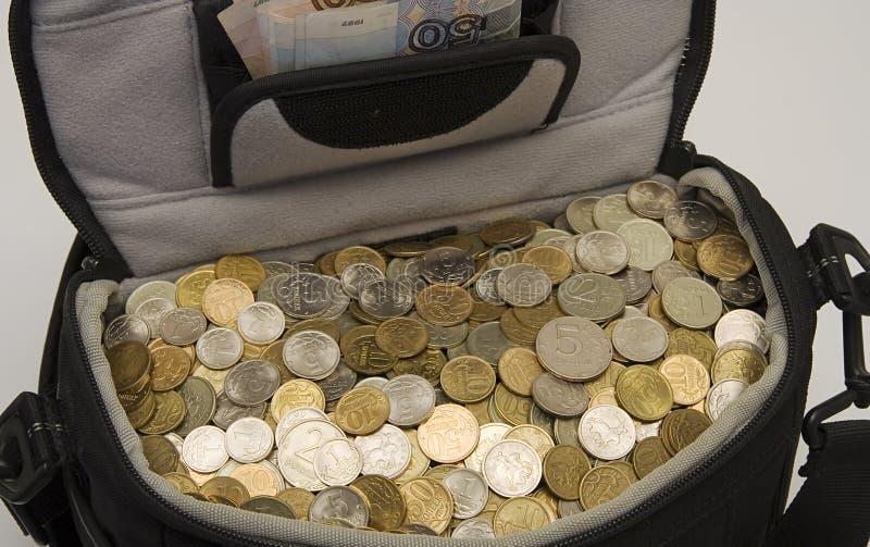 Zak voor het houden van contant geld van geld. royalty-vrije stock afbeeldingen