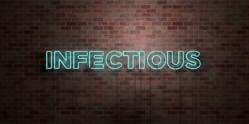 ZAKAŹNY - fluorescencyjny Neonowej tubki znak na brickwork - Frontowy widok - 3D odpłacający się królewskość bezpłatny akcyjny ob ilustracja wektor