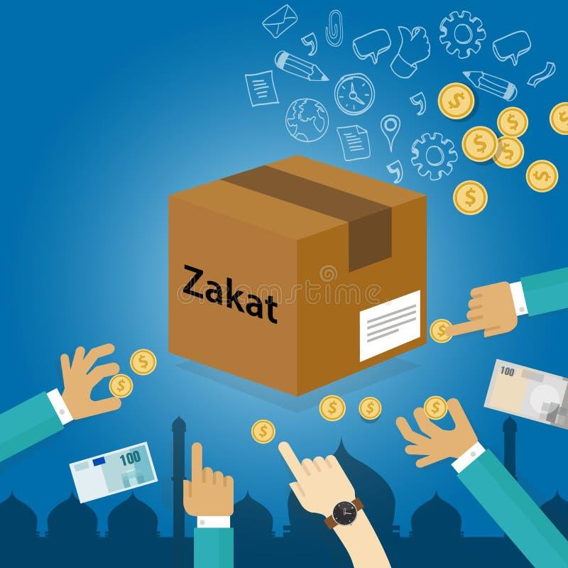 Zakat che dà soldi alla carità religiosa di imposta di concetto difficile di islam illustrazione vettoriale