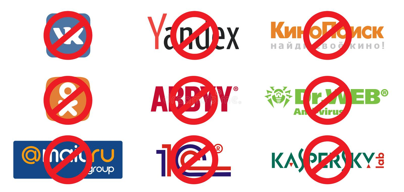 Zakaz ogólnospołeczne sieci i ewidencyjni zasoby w Ukraina Sankcje przeciw Rosja prezydenta Petro Poroshenko ` s fotografia stock