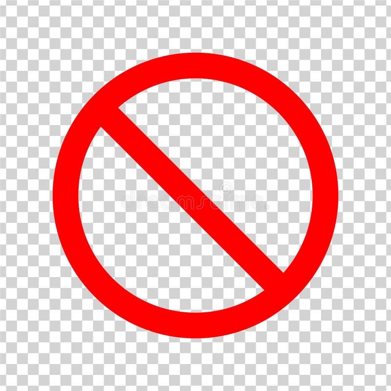 Zakazu znak Czerwona ikona na przejrzystym tle royalty ilustracja