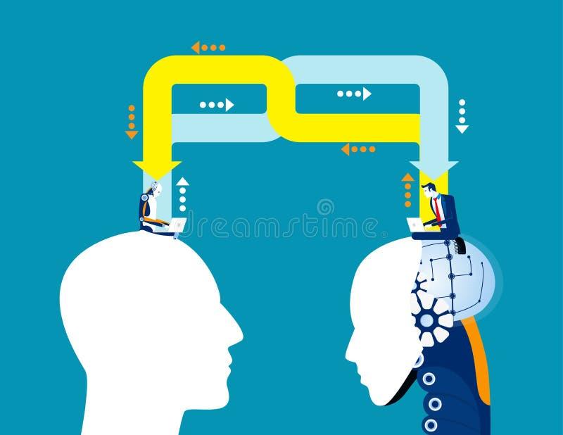 Zakelijk idee voor kunstmatige intelligentie, Begrip van zakelijke vectorillustratie, Technologie, Uitwisseling, Delen royalty-vrije illustratie