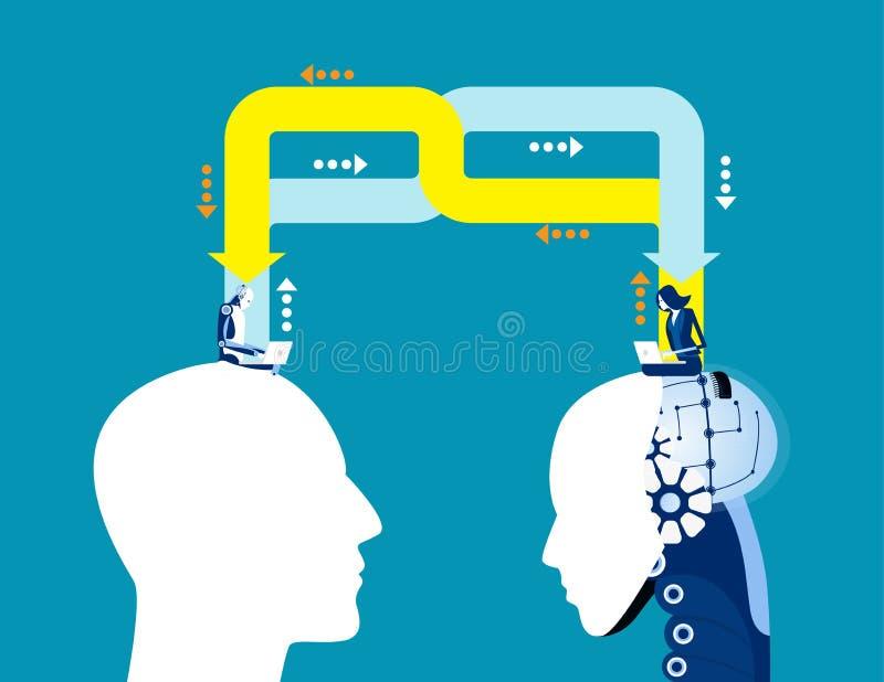 Zakelijk idee voor kunstmatige intelligentie, Begrip van zakelijke vectorillustratie, Technologie, Uitwisseling, Delen vector illustratie