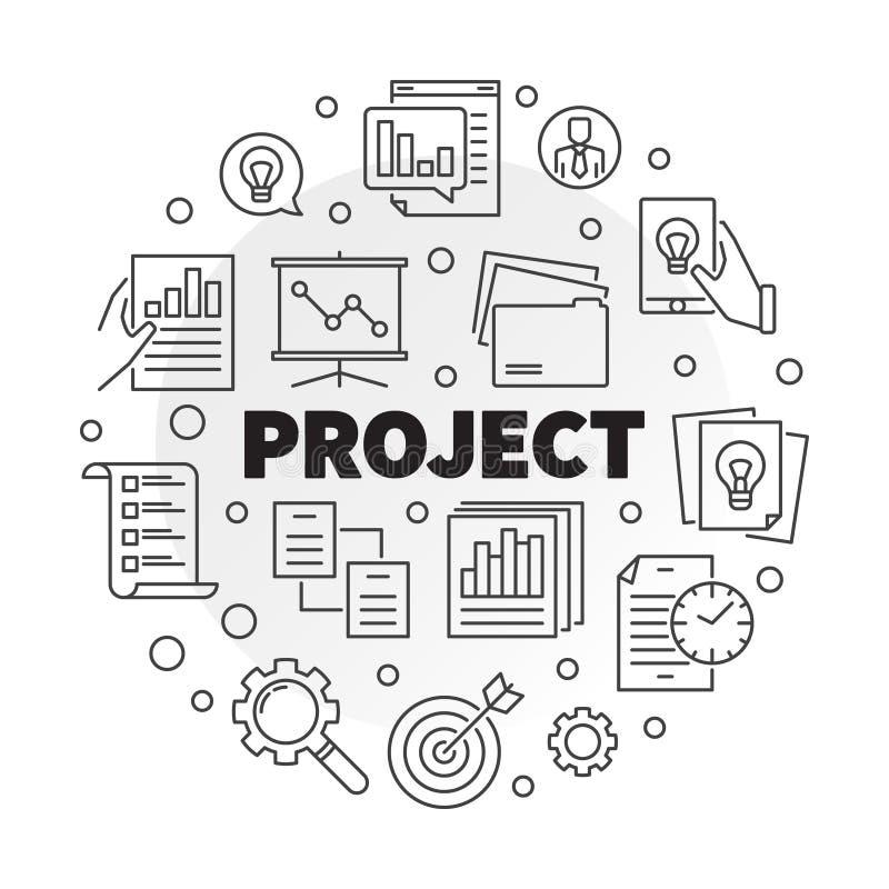 Zakelijk project vector ronde illustratie in dunne lijnstijl vector illustratie