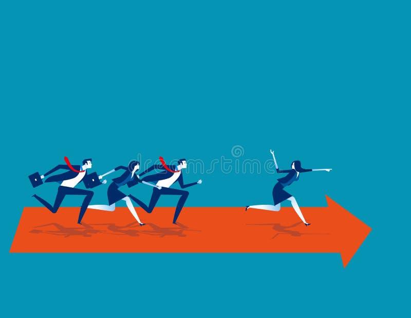 Zakelijk team na leider Concept bedrijfsvector, Teamwork, Leiderschap, Groep van mensen stock illustratie