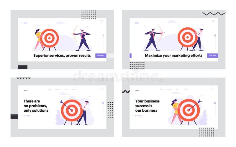 Zakelijke doelstellingen bereiken Website Landing Page Set, Zakelijke mensen kiezen voor doel, Uitdaging, Oplossing van de Taak royalty-vrije illustratie