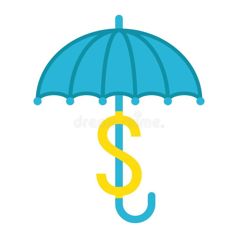 Zakelijke verzekering vlak pictogram, het teken van de parapludollar stock illustratie