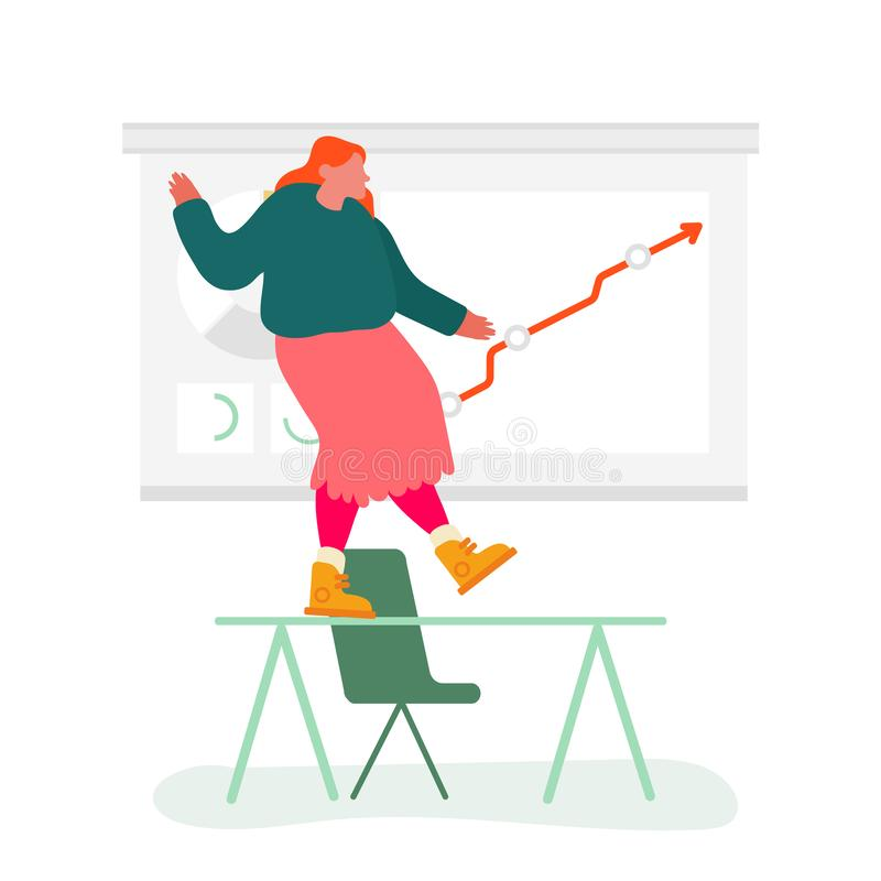 Zakelijke vrouw dansend op Office Desk bij Growing Arrow Diagram Happy voor financieel succes Zakelijke personage stock illustratie