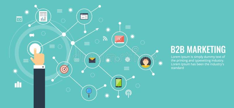 Zaken aan zaken, b2b, voorzien van een netwerk, mededeling, marketing concept Vlak ontwerp die vectorbanner op de markt brengen vector illustratie