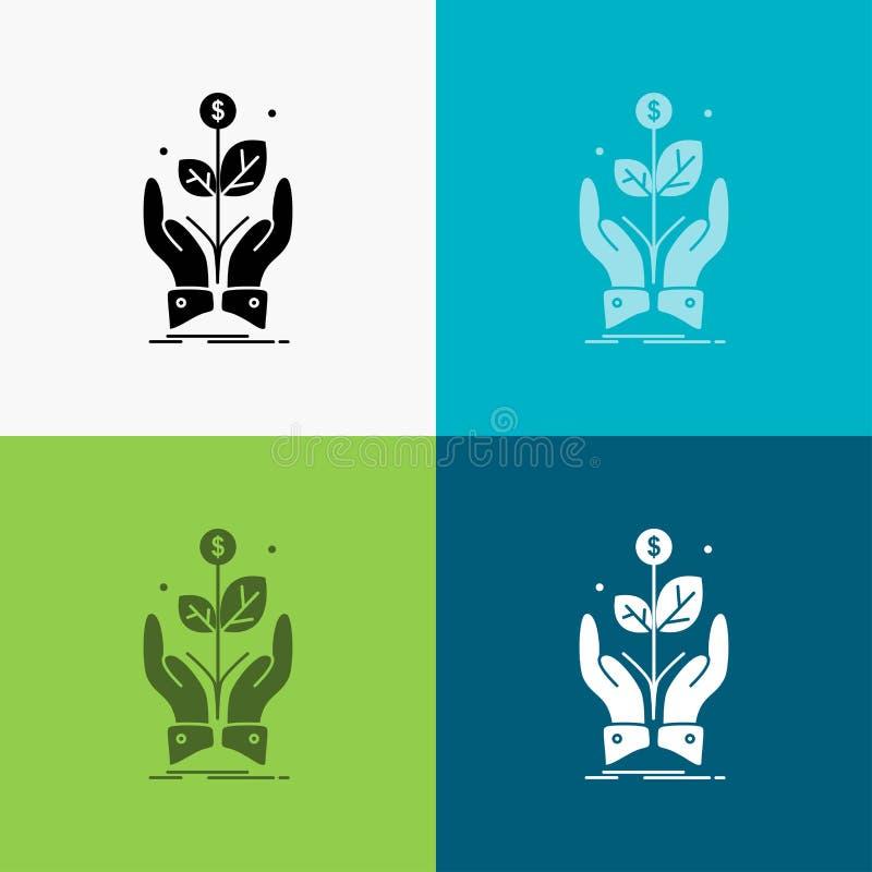 zaken, bedrijf, de groei, installatie, stijgingspictogram over Diverse Achtergrond glyph stijlontwerp, voor Web dat en app wordt  stock illustratie