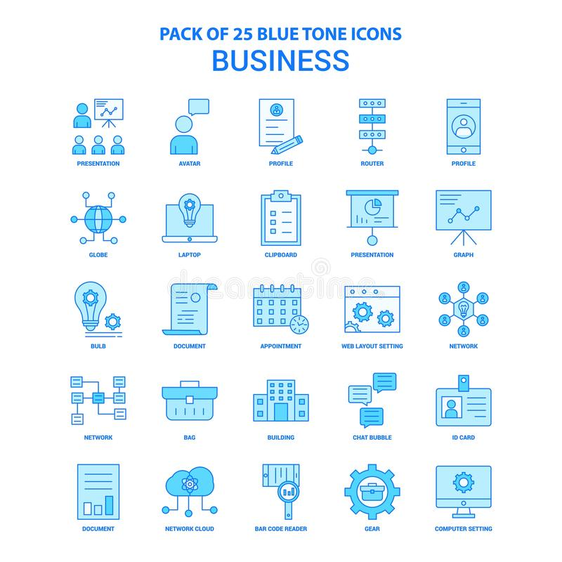 Zaken Blauwe Tone Icon Pack - 25 Pictogramreeksen stock illustratie