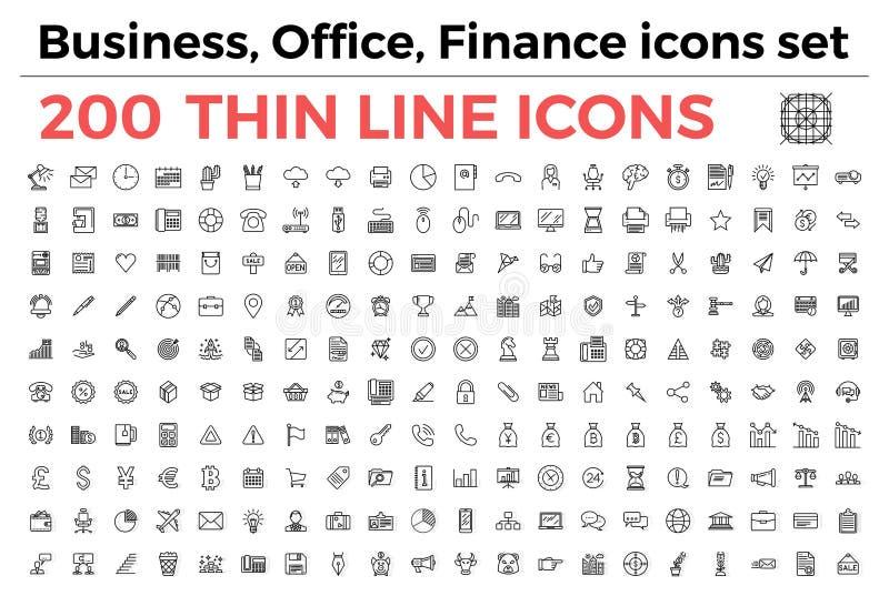 Zaken, bureau, geplaatste de pictogrammen van het financiënthema vector illustratie