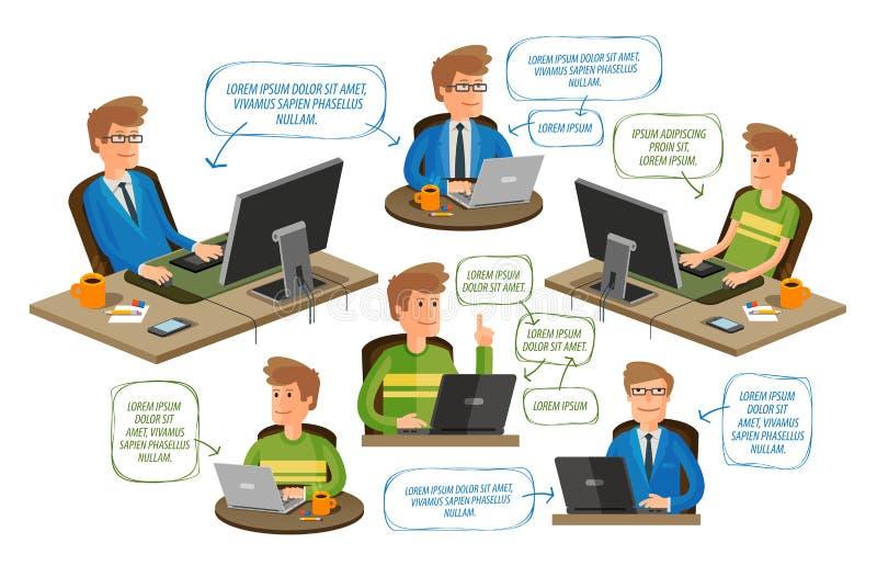 Zaken, bureau, geplaatste onderwijspictogrammen Vector illustratie stock illustratie