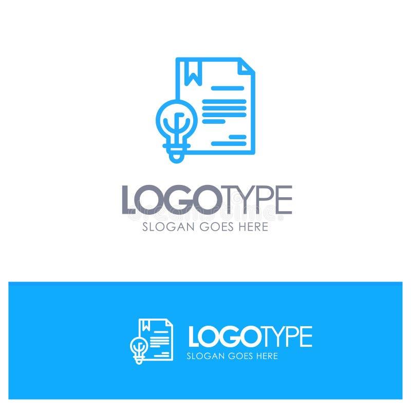 Zaken, Copyright, Digitaal, Uitvinding, Embleem van het Wets het Blauwe overzicht met plaats voor tagline royalty-vrije illustratie