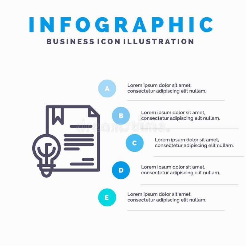 Zaken, Copyright, Digitaal, Uitvinding, het pictogram van de Wetslijn met infographicsachtergrond van de 5 stappenpresentatie vector illustratie